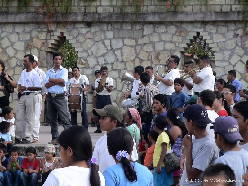 Musicians and audience at Copan Ruinas Fiesta