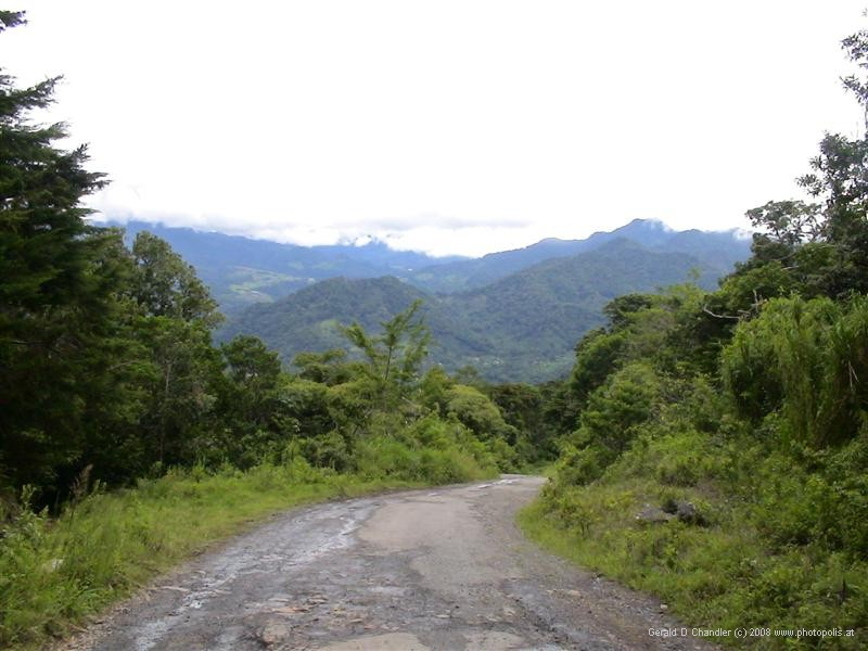 Jaramillo hills above Boquette, view of Volcan Baru