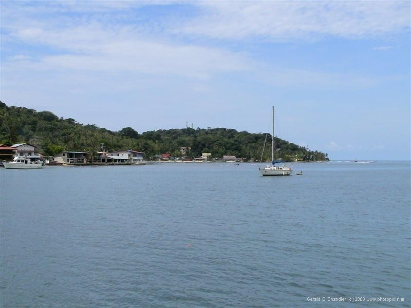 The north tip of Isla Grande jutting into Caribbean