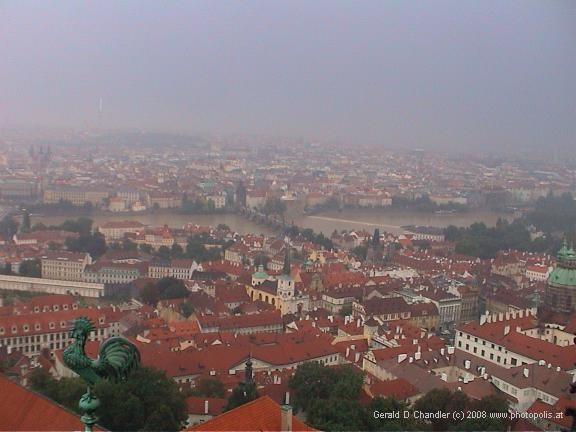 View from Castle of part of Lesser Quarter, Vltava River, Charles Bridge, Old Town, and TV Tower