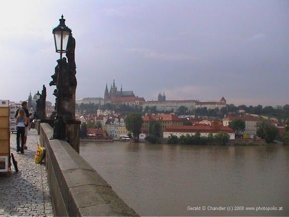 South-east end of Charles Bridge, looking toward St Vitus Cathedral and Prague Castle