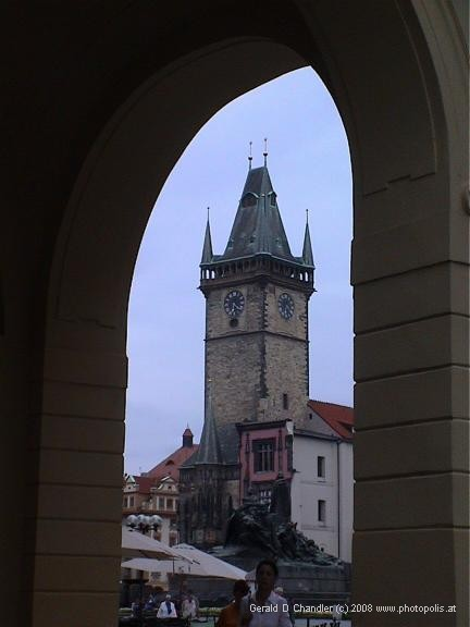 Old Town Clock Tower seen through arch