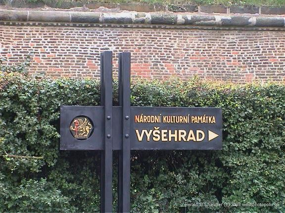 Sign to Vysehrad. (National Cultural Historical Site)
