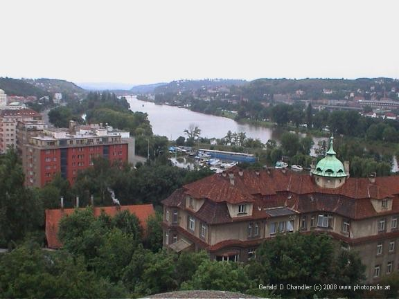 View south of Vltava River from Vysehrad viewpoint