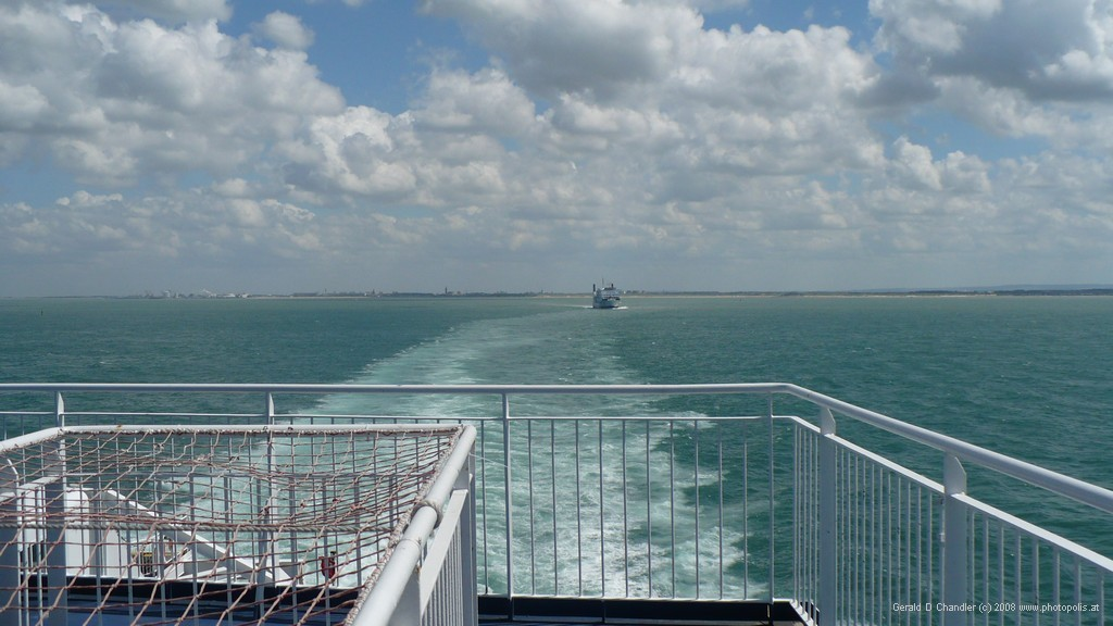 France and its port of Calais disappearing behind us