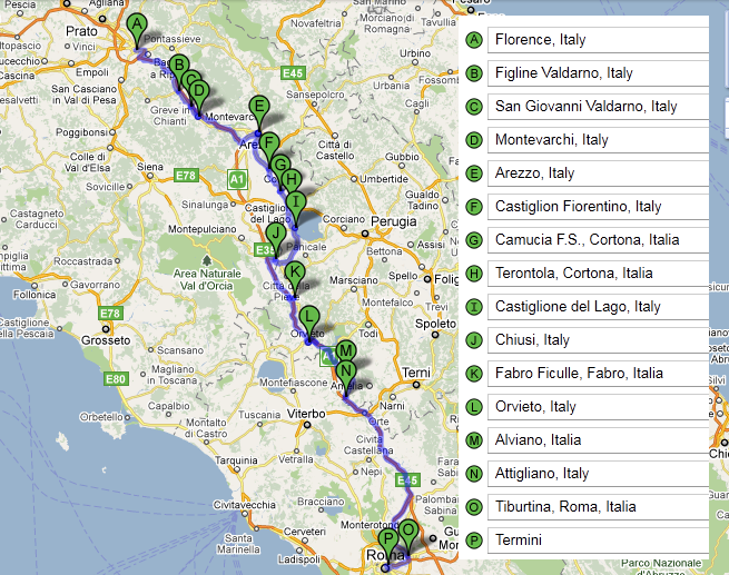 Train Route and Stops: Florence to Rome