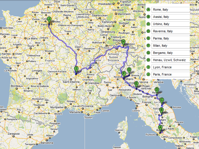 Planned Rome - Swizerland - Paris Route, July 1-30
