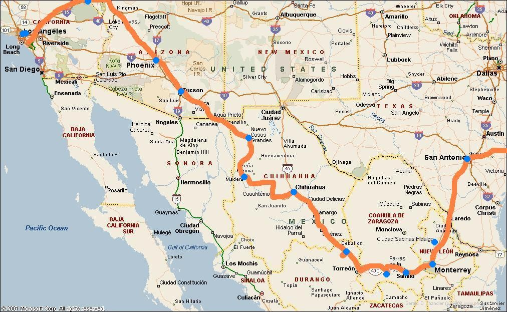 Route from USA through Mexico