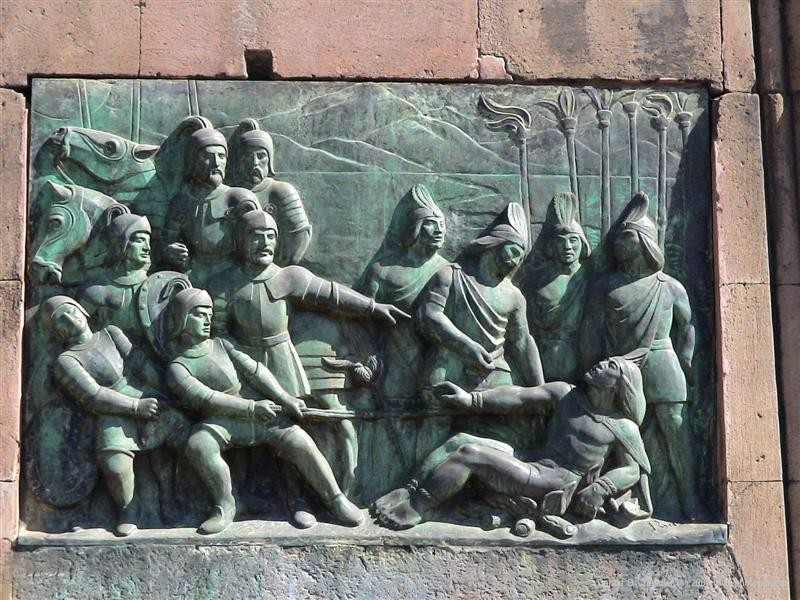 Patzcuaro monument recording encounter of Spaniards and Indians