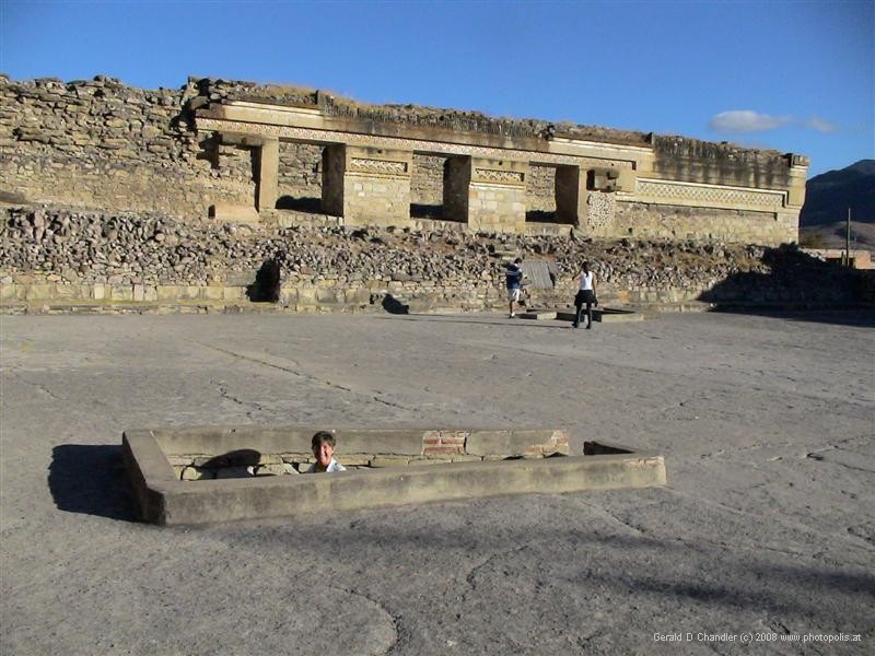 Mitla Ruins, with tomb entrance.