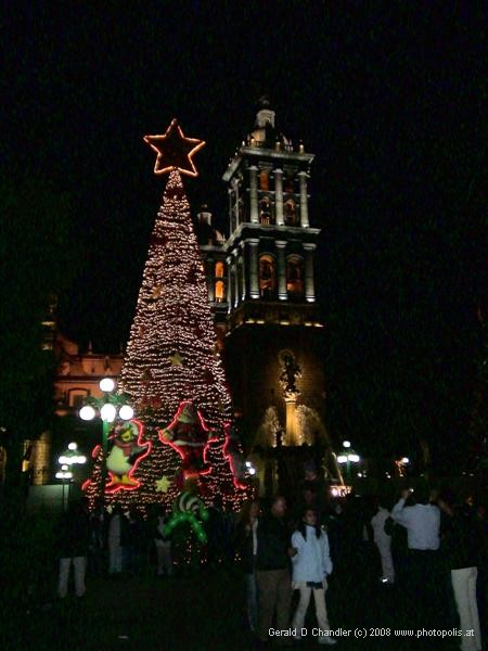 Puebla Cathedral with Christmas Tree