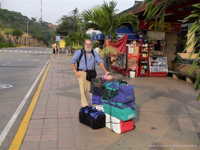 Gerry with Bags at Bucaramanga Bus Station